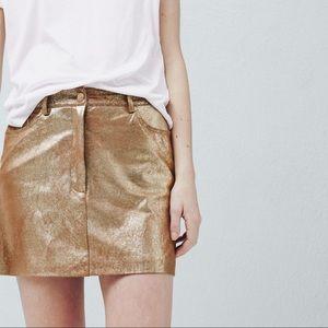 Mango gold metallic mini skirt mng xs